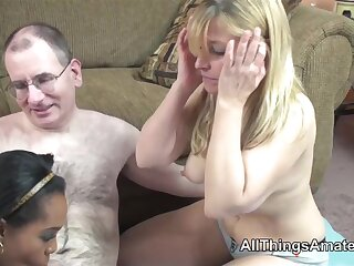 Lowering and white mature women share a cock