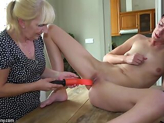 OldNanny Grey descendant added to cute girl masturbating with dildo on a catch chifferobe
