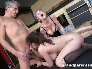 Dirty foursome having it away with an patriarch couple coupled with a sexy chick