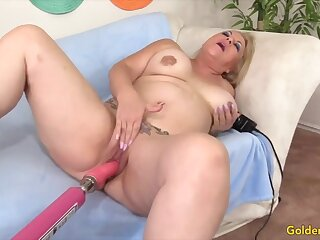 Horny mature sluts enjoy their aged pussies being reamed by gender machines