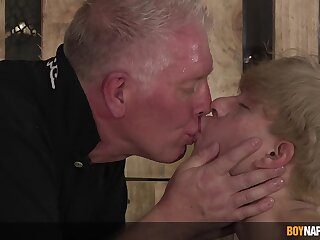 Hardcore torture session between a full-grown perv and younger amateur