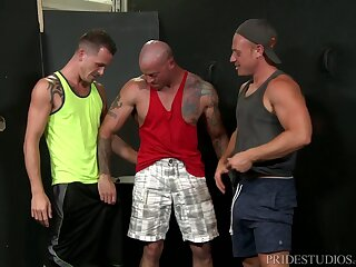 Elated threesome with mature guys contain a hard working-out