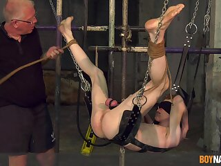 Guestimated aggravation torture session by a mature pervert for a younger slave