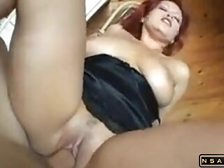Sultry redhead milf with grown juggs and booty and chunky trimmed snatch