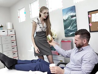 Skinny secretary Kyaa Chimera blows and gets fucked apropos get under one's office