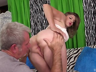 Naked mature fucked on cam by an older alms-man