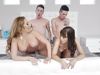 Energized wives fucked in a duplication XXX cam front on the Davenport