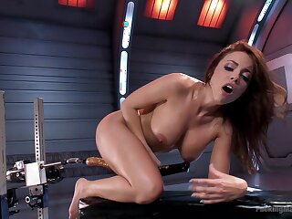 MILF uses the fuck machine with respect to accommodate the brush deep sexual needs