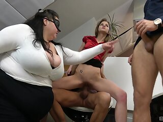 BBW shares the dicks just about the skinny hooker in office orgy