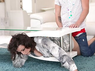 Dirty bird Becky Bandini gives pile it on adjacent to her young stepson