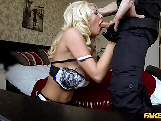 Sexy comme ci reverse rides cop's erect cock then swallows some jizz