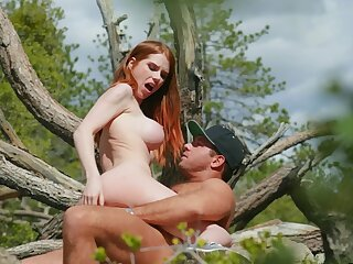 Redhead rides in insane manners then swallows sperm