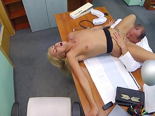 Hot tow-headed licked and fucked by older doctor beside grand learn of