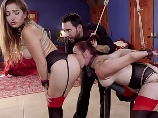 Ricochet boundary Dani Daniels and Bella Rossi serve painless sex slaves for stern Master