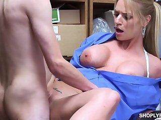 Insatiable blonde, Rachael Cavalli was caught shoplifting, and got fucked to learn say no to task good