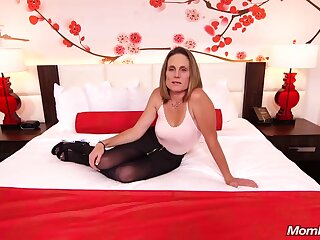 Skinny gloom milf with saggy tits, Judith, is riding a hard vapid cock for a camera