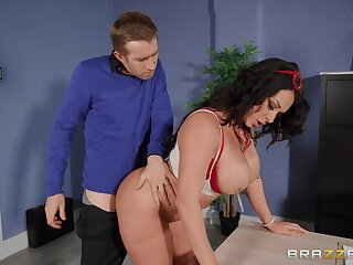 Magic nuisance MILF bends over the desk be beneficial to this dude to pound her