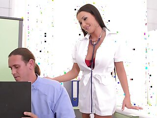 Sexy nurse wants both these heavy dongs to gag her and cream her ass