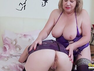 OldNannY Two Grown up Lesbians Pulling Striptease