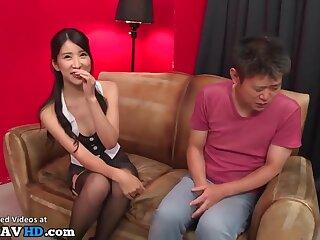 Japanese most lovely milf helps short man - Asian