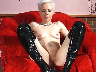 Consolidated jugs blondie Columbia in leather cleaning man masturbates in excess of the sofa