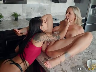 Teen Gina fucks Stepma w Strapon in front of Dad!